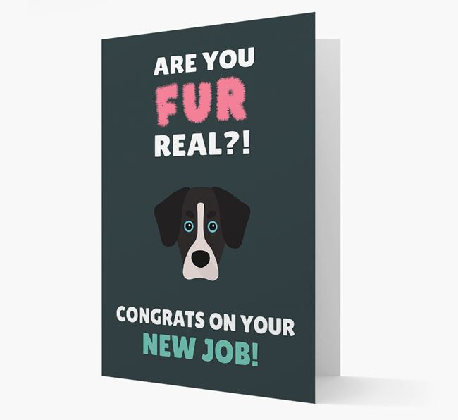 'Are you for real?! Congrats on your new job!' Card with Siberian Cocker Icon