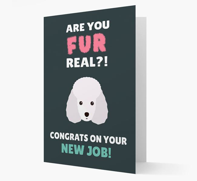 'Are you for real?! Congrats on your new job!' Card with Toy Poodle Icon