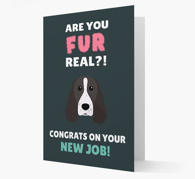 'Are you for real?! Congrats on your new job!' Card with Welsh Springer Spaniel Icon