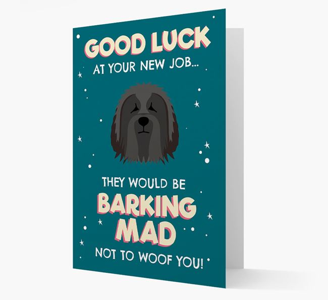 'Good Luck at your New Job!' Card with Bearded Collie Icon