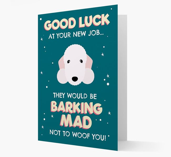 'Good Luck at your New Job!' Card with Bedlington Terrier Icon