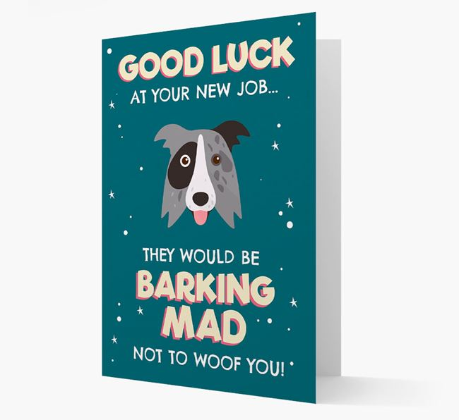 'Good Luck at your New Job!' Card with Border Collie Icon