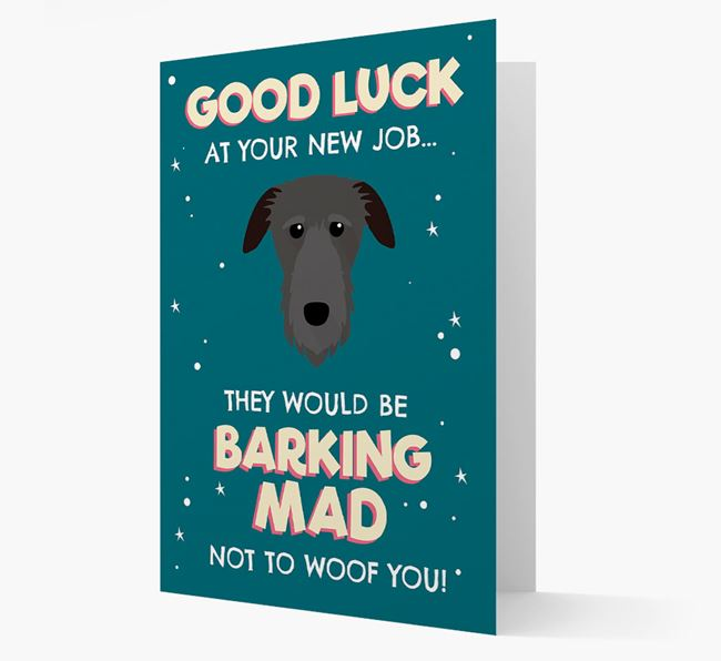 'Good Luck at your New Job!' Card with Deerhound Icon