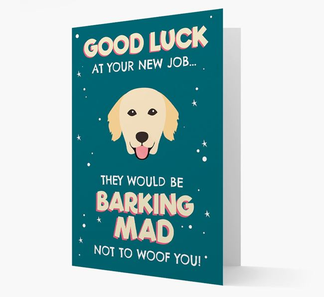 'Good Luck at your New Job!' Card with Golden Retriever Icon