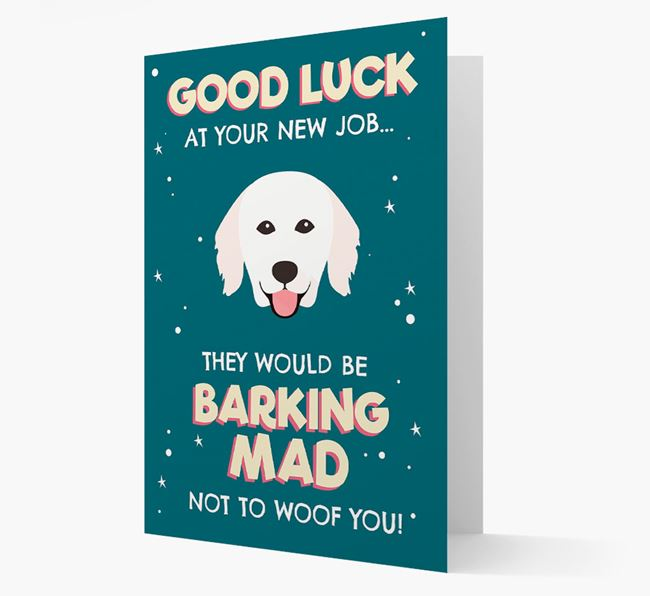 'Good Luck at your New Job!' Card with Hungarian Kuvasz Icon