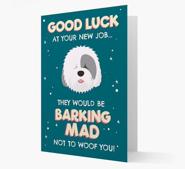 'Good Luck at your New Job!' Card with Old English Sheepdog Icon