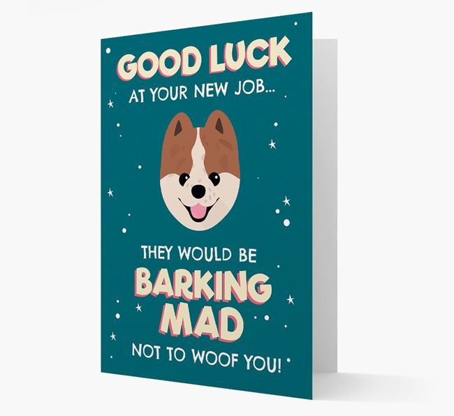 'Good Luck at your New Job!' Card with Pomeranian Icon