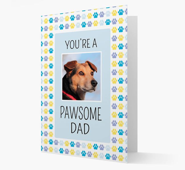 'Pawsome Dad' Card with photo of Bedlington Terrier