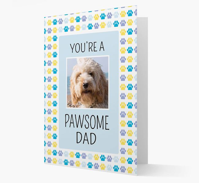 'Pawsome Dad' Card with photo of Cockapoo