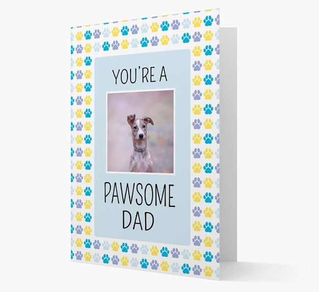 'Pawsome Dad' Card with photo of Lurcher
