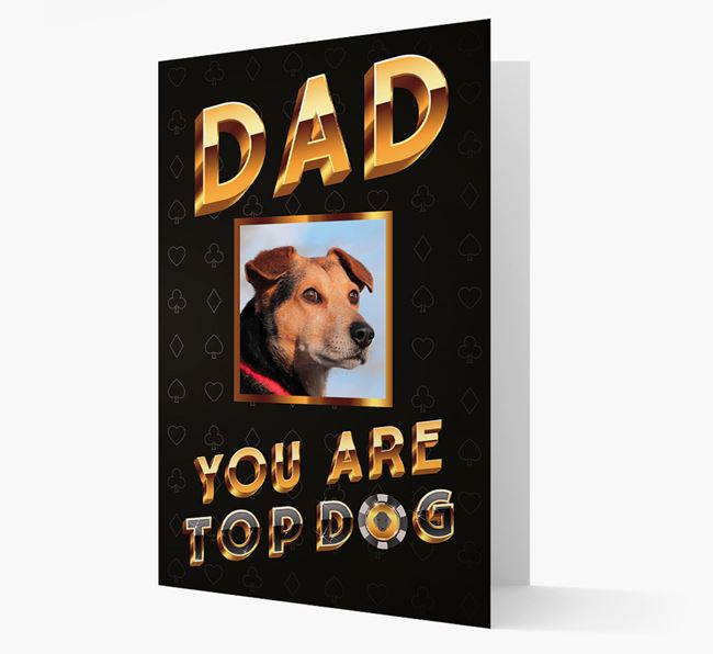 'Dad, You Are Top Dog' Card with photo of your Bedlington Terrier