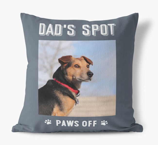 'Dad's Spot, Paws Off' Cushion with photo of your Airedale Terrier