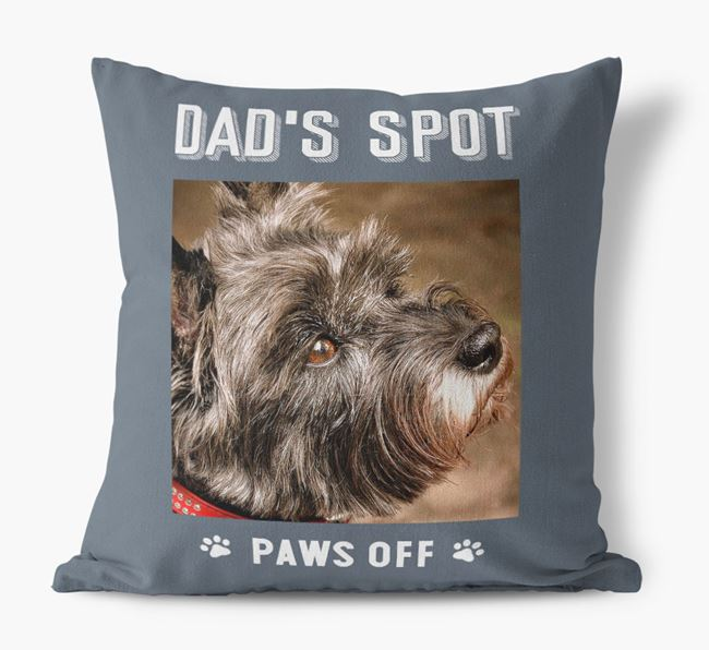 'Dad's Spot, Paws Off' Pillow with photo of your Cairn Terrier