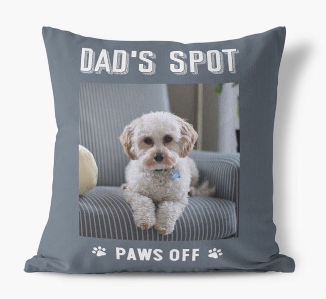 'Dad's Spot, Paws Off' Pillow with photo of your Cavapoo