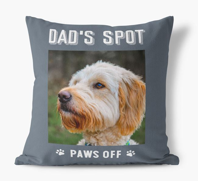 'Dad's Spot, Paws Off' Pillow with photo of your Goldendoodle