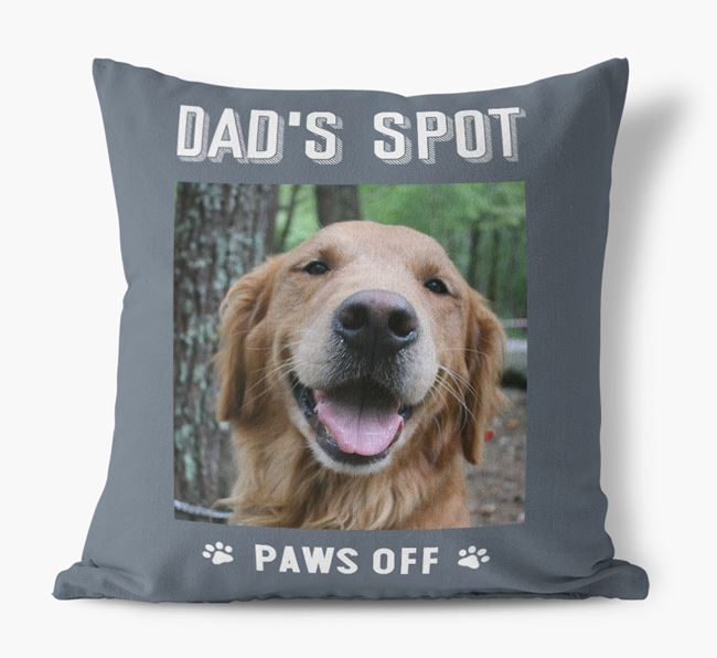 'Dad's Spot, Paws Off' Pillow with photo of your Golden Retriever