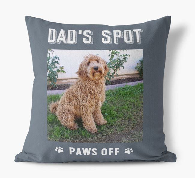 'Dad's Spot, Paws Off' Pillow with photo of your Labradoodle