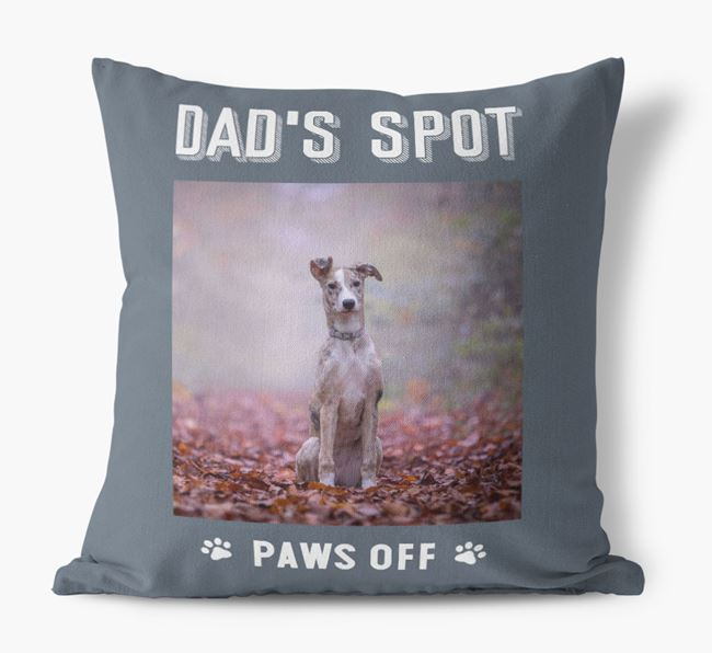'Dad's Spot, Paws Off' Pillow with photo of your Lurcher