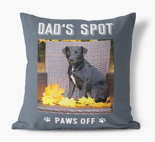 'Dad's Spot, Paws Off' Pillow with photo of your Patterdale Terrier