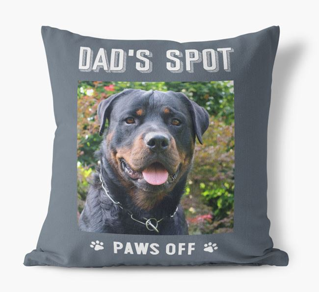 'Dad's Spot, Paws Off' Pillow with photo of your Dog