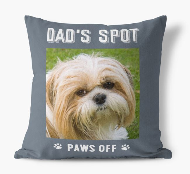 'Dad's Spot, Paws Off' Pillow with photo of your Shih Tzu