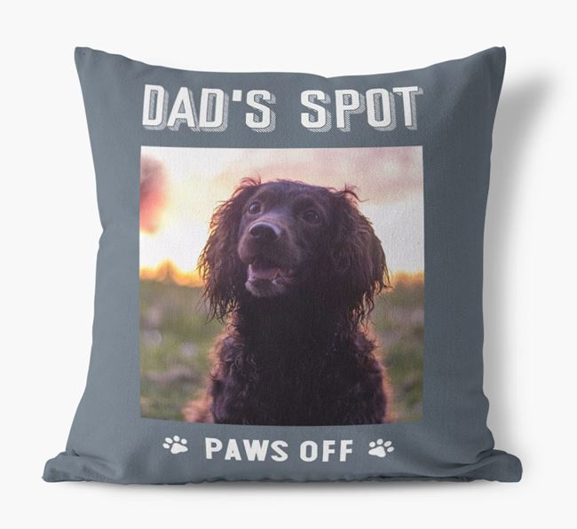 'Dad's Spot, Paws Off' Pillow with photo of your Sprocker