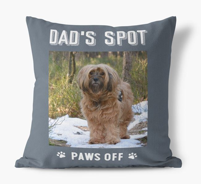 'Dad's Spot, Paws Off' Pillow with photo of your Tibetan Terrier