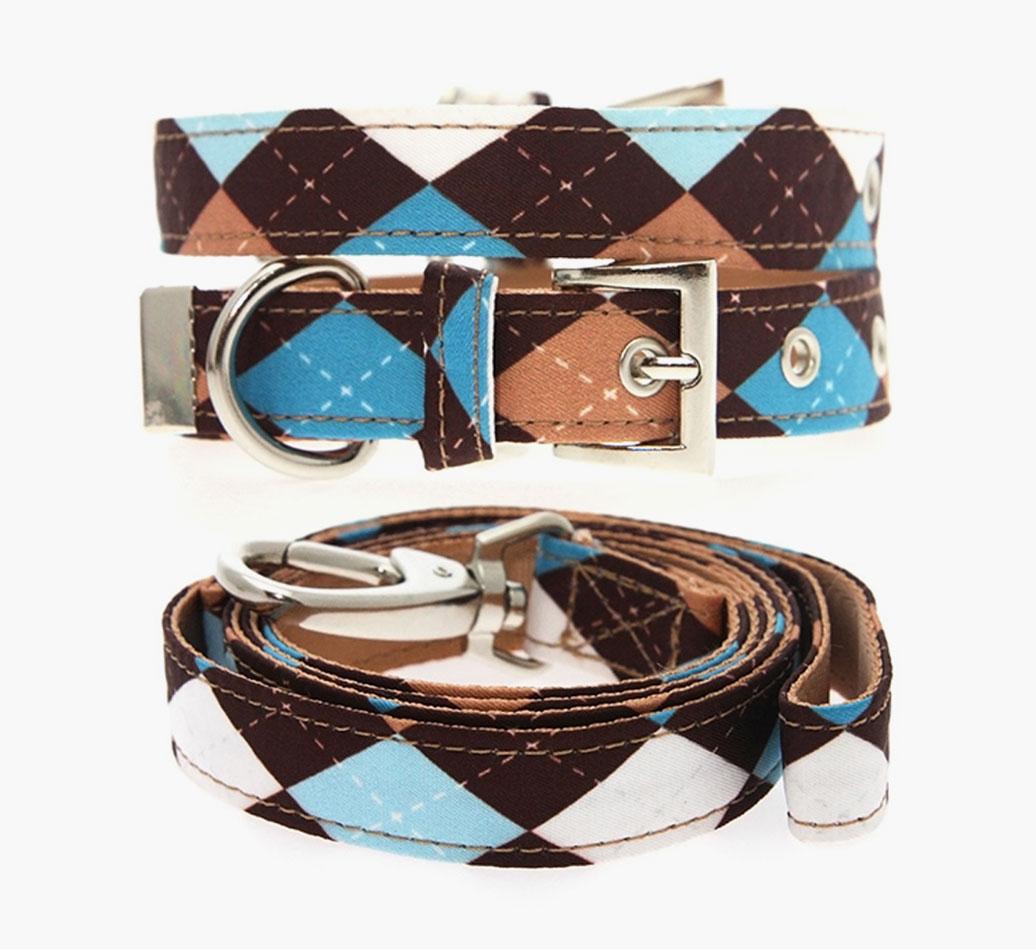 Poodle Urban Pup Brown & Blue Argyle Fabric Collar & Lead Set