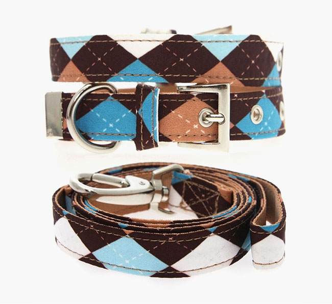 Urban Pup Brown & Blue Argyle Collar & Lead Set