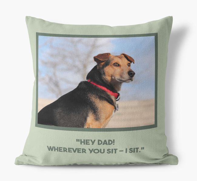 'Hey Dad' Cushion with photo of your Old English Sheepdog