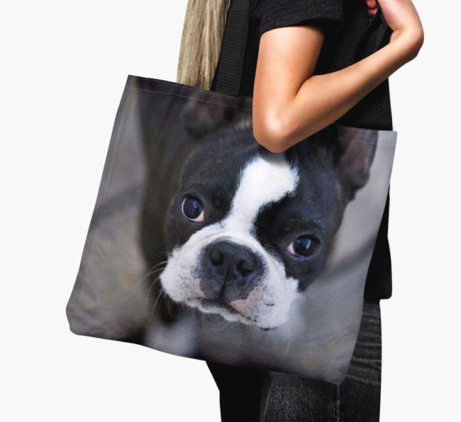 Canvas Bag with photo of your Boston Terrier