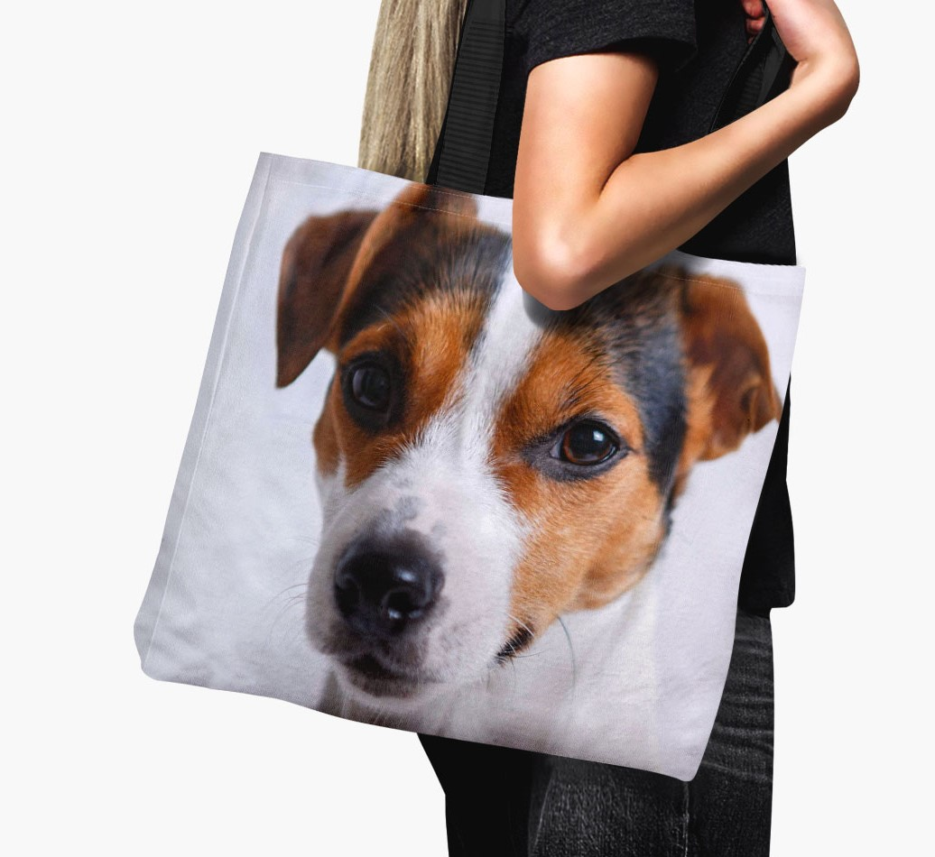 Woman holding Canvas Bag with photo of your Dog