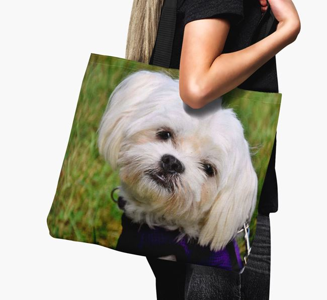 Canvas Bag with photo of your Maltese