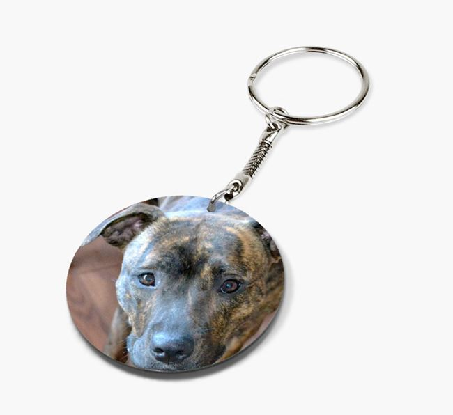 Keyring with photo of your Staffordshire Bull Terrier