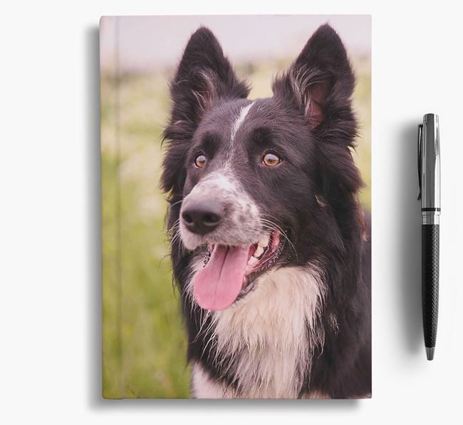 Notebook with photo of your Border Collie