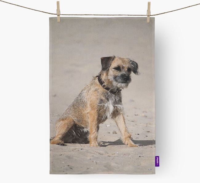 Dish Towel with photo of your Border Terrier
