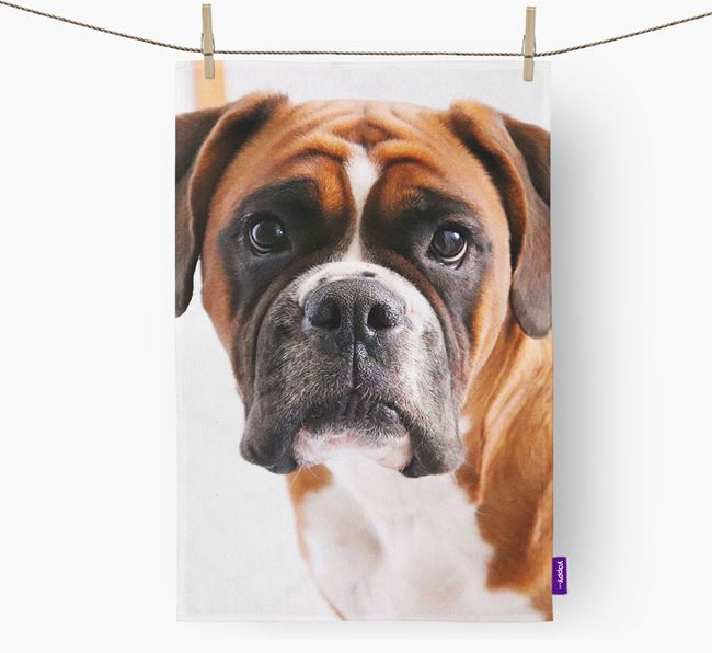 Dish Towel with photo of your Boxer