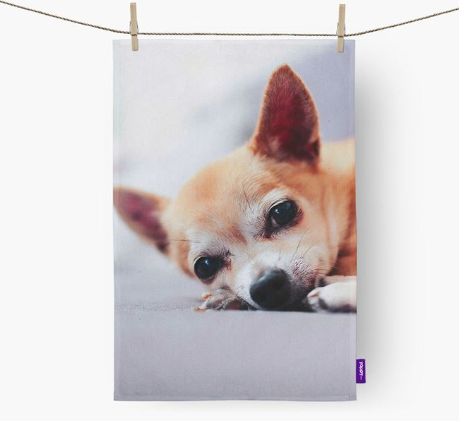 Tea Towel with photo of your Chihuahua