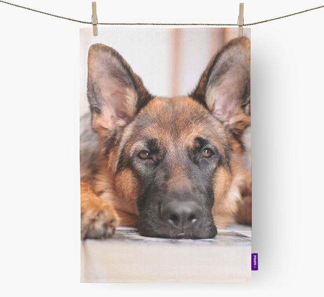 Dish Towel with photo of your German Shepherd
