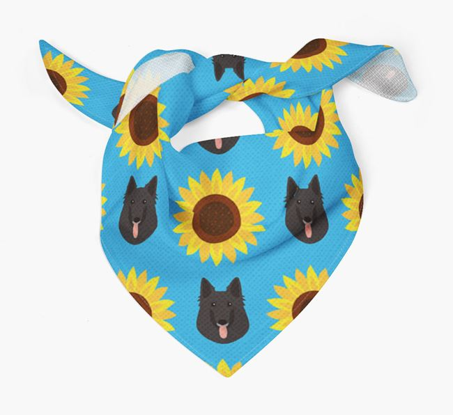 Sunflower Bandana with Belgian Groenendael Icons