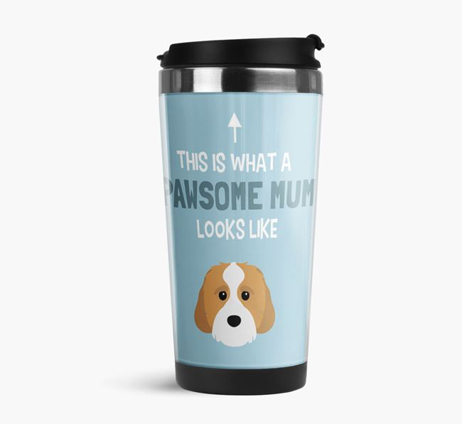 'This Is What a Pawsome Mum Looks Like' - Reusable Mug with Cavachon Icon
