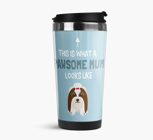 'This Is What a Pawsome Mum Looks Like' - Reusable Mug with Lhasa Apso Icon