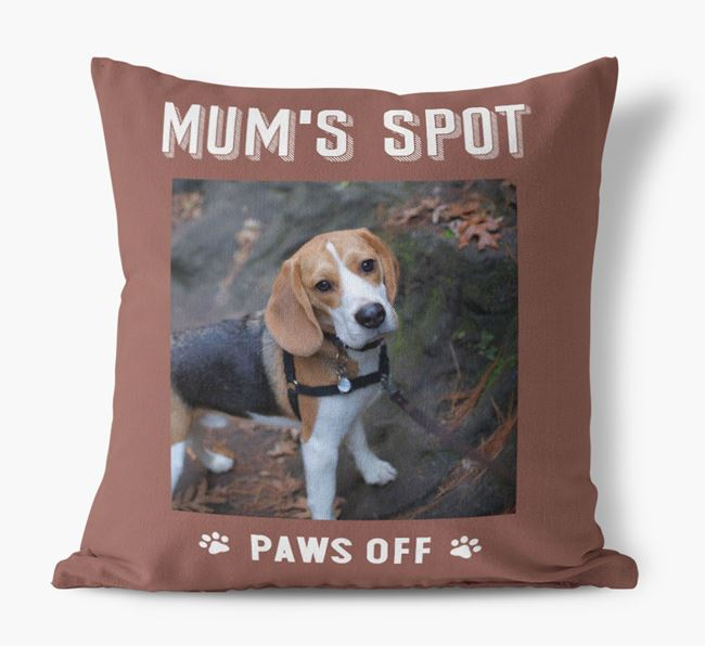 'Mum's Spot, Paws Off' - Photo Upload Cushion for your Beagle