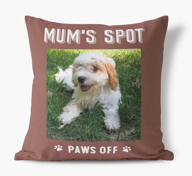 'Mum's Spot, Paws Off' - Photo Upload Cushion for your Cavachon