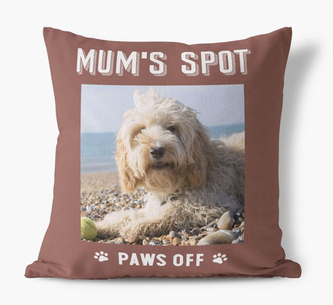 'Mum's Spot, Paws Off' - Photo Upload Cushion for your Cockapoo