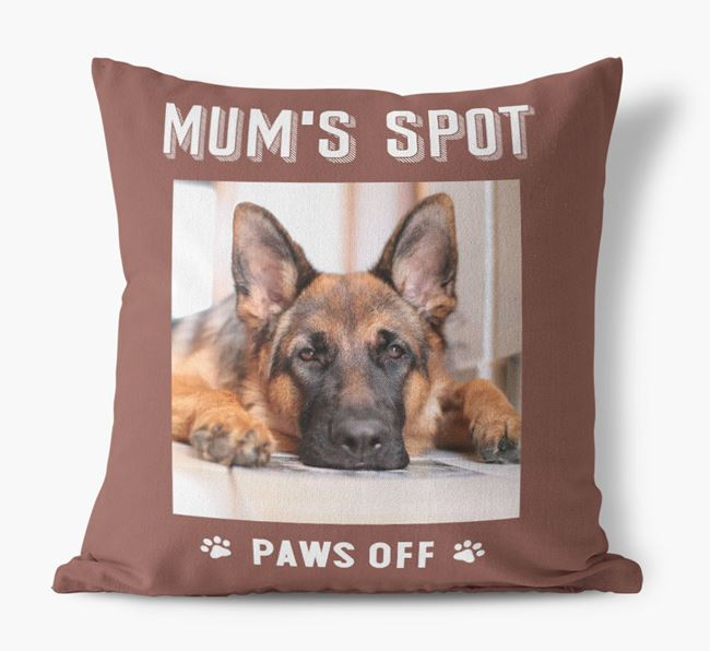 'Mum's Spot, Paws Off' - Photo Upload Cushion for your German Shepherd