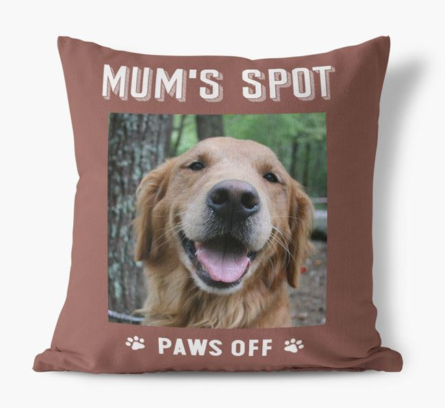 'Mum's Spot, Paws Off' - Photo Upload Cushion for your Golden Retriever