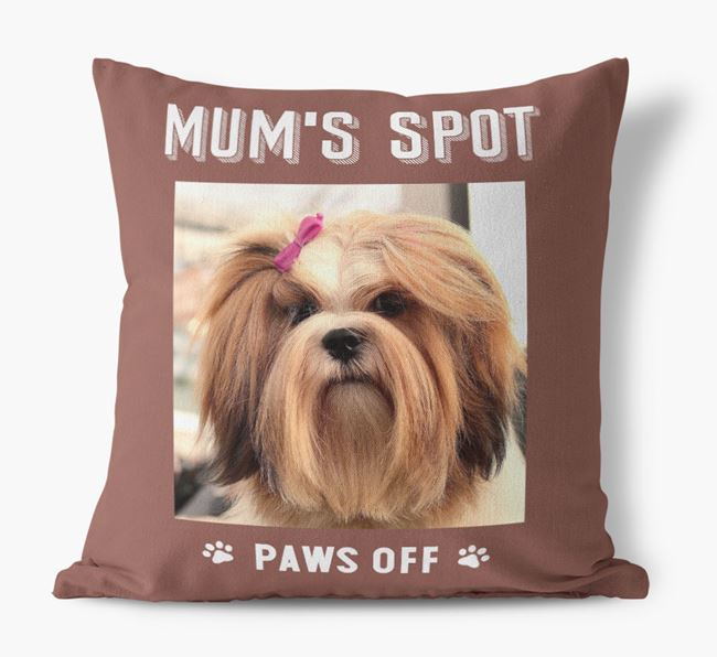 'Mum's Spot, Paws Off' - Photo Upload Cushion for your Lhasa Apso
