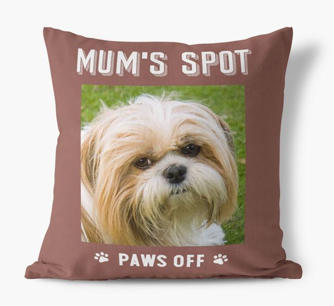 'Mum's Spot, Paws Off' - Photo Upload Cushion for your Shih Tzu
