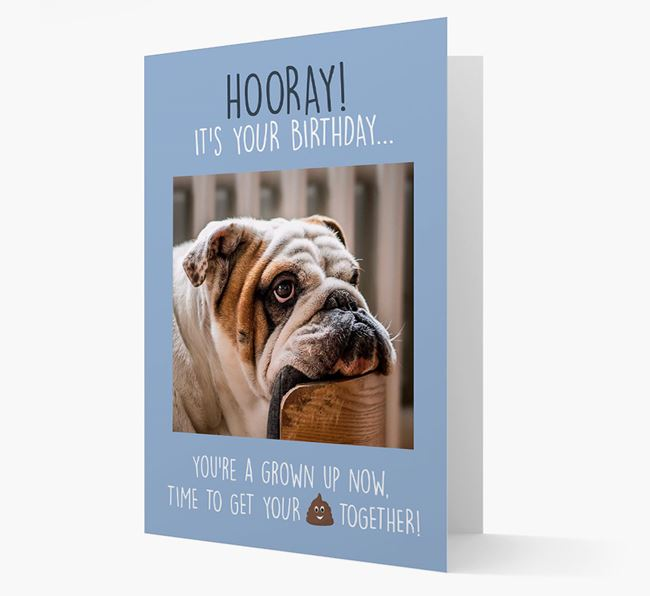 Photo Upload 'Hooray, it's your Happy Birthday' Card with you English Bulldog Picture